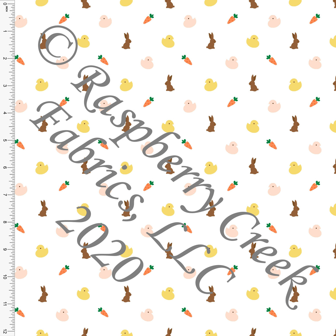 Peach Yellow Orange Brown and Green Mini Easter Treats, By Bri Powell for Club Fabrics - Raspberry Creek Fabrics