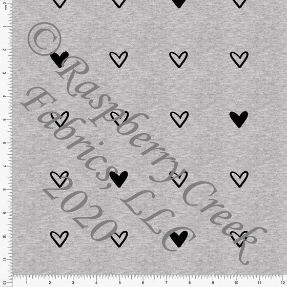 Black Hearts on Heathered Grey, Minimal on Grey By Brittney Laidlaw for Club Fabrics - Raspberry Creek Fabrics