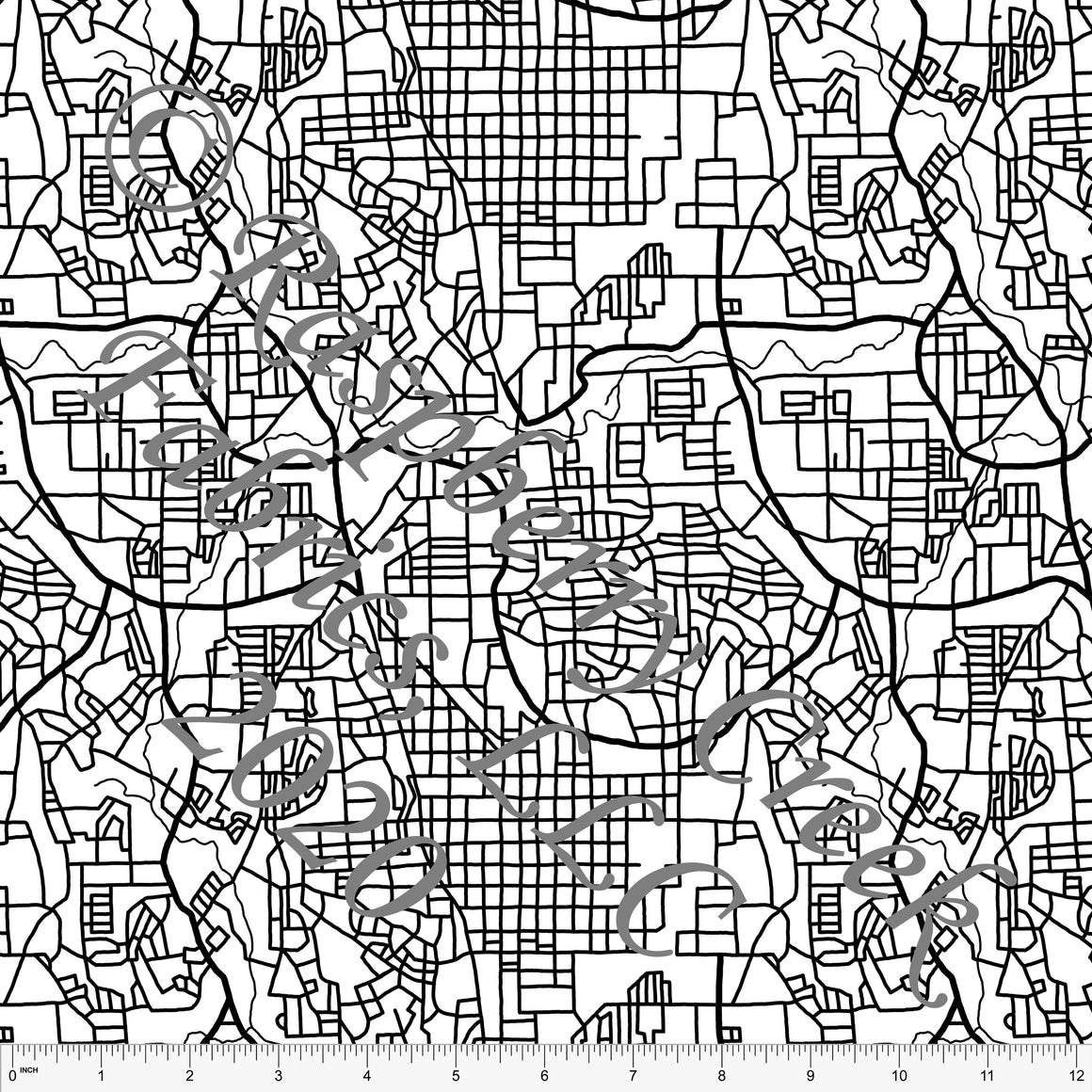 Black and White Minimal Street Map, Minimal 2.0 by Brittney Laidlaw for Club Fabrics - Raspberry Creek Fabrics
