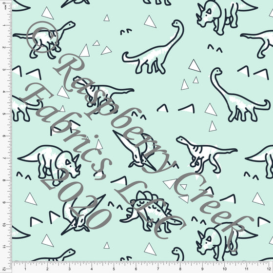 Mint Black and White Dino Triangle Print Double Brushed Poly Knit Fabric, By Karly Nelson for CLUB Fabrics - Raspberry Creek Fabrics