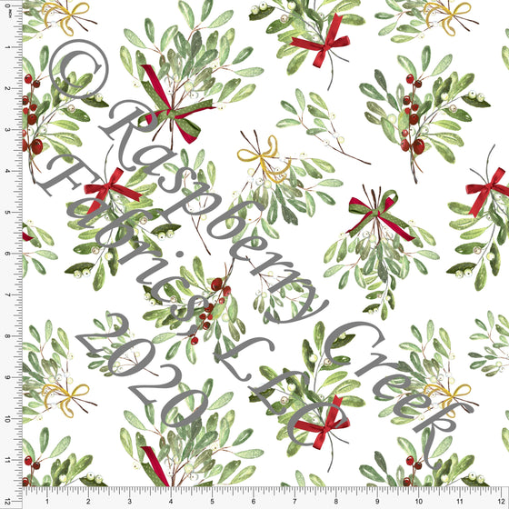 Tonal Green Red and Gold Mistletoe Print, Christmas for Club Fabrics - Raspberry Creek Fabrics