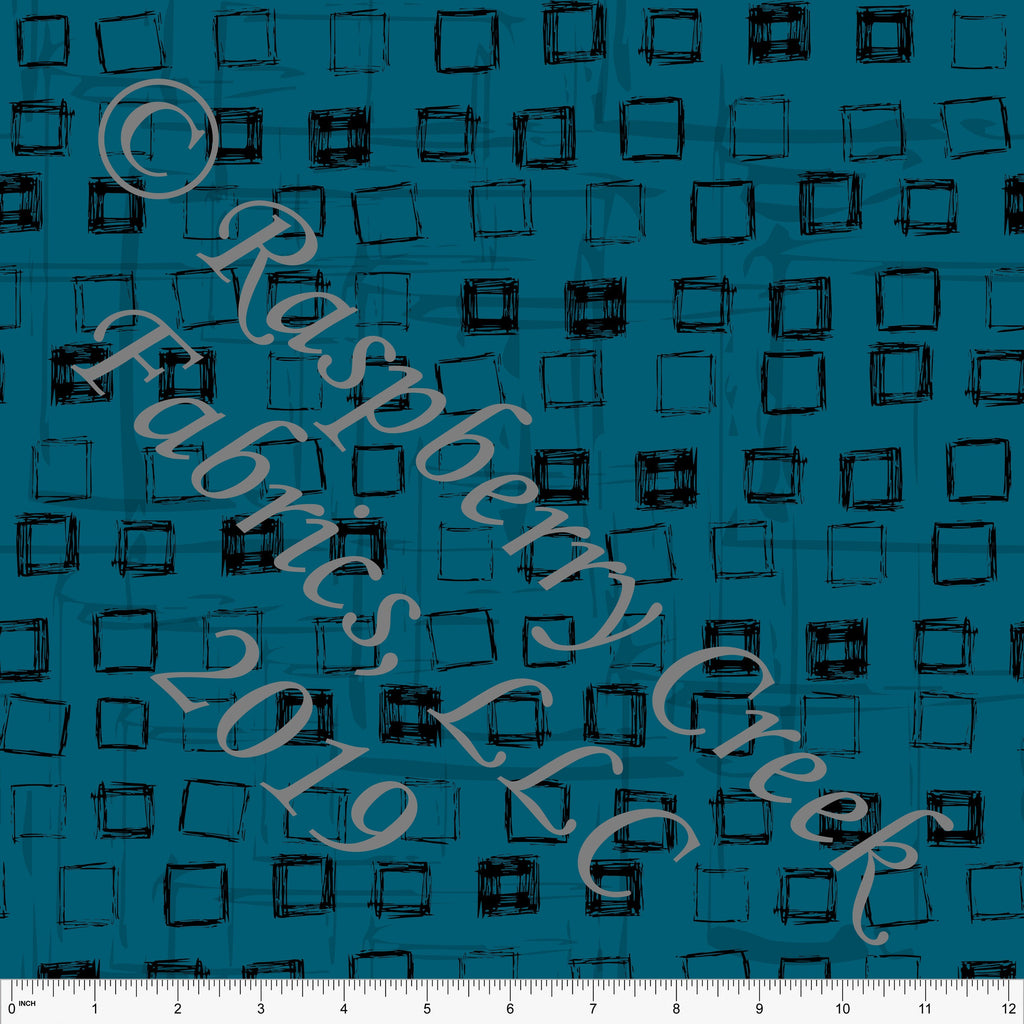 Teal and Black Modern Squares, 4 Way Stretch Double Brushed Poly By Elise Peterson for CLUB Fabrics - Raspberry Creek Fabrics