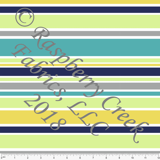 Green Yellow Grey Teal and Navy Blue Multi Stripe 4 Way Stretch MATTE SWIM Knit Fabric, By Kim Henrie For Club Fabrics