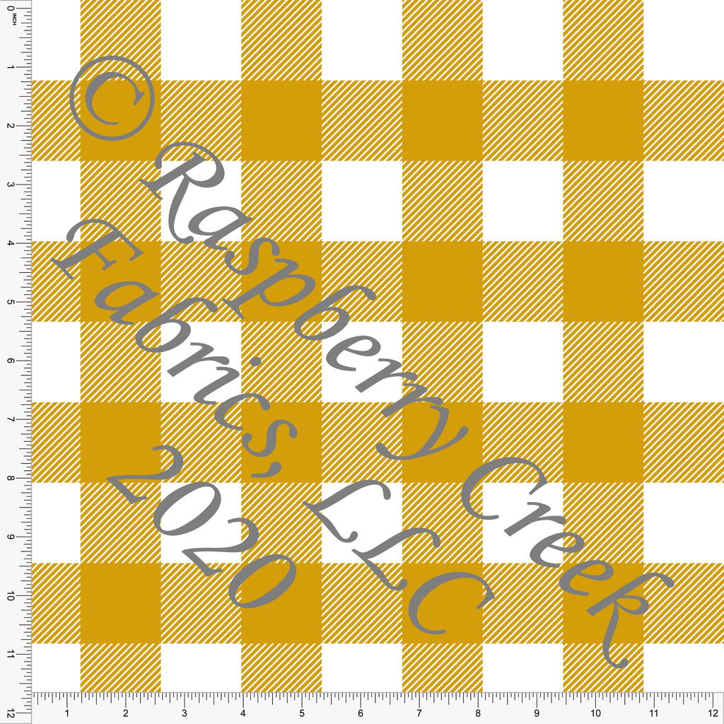 Mustard and White Buffalo Check Gingham Print Double Brushed Poly Knit Fabric, Abundant by Kimberly Henrie for CLUB Fabrics - Raspberry Creek Fabrics