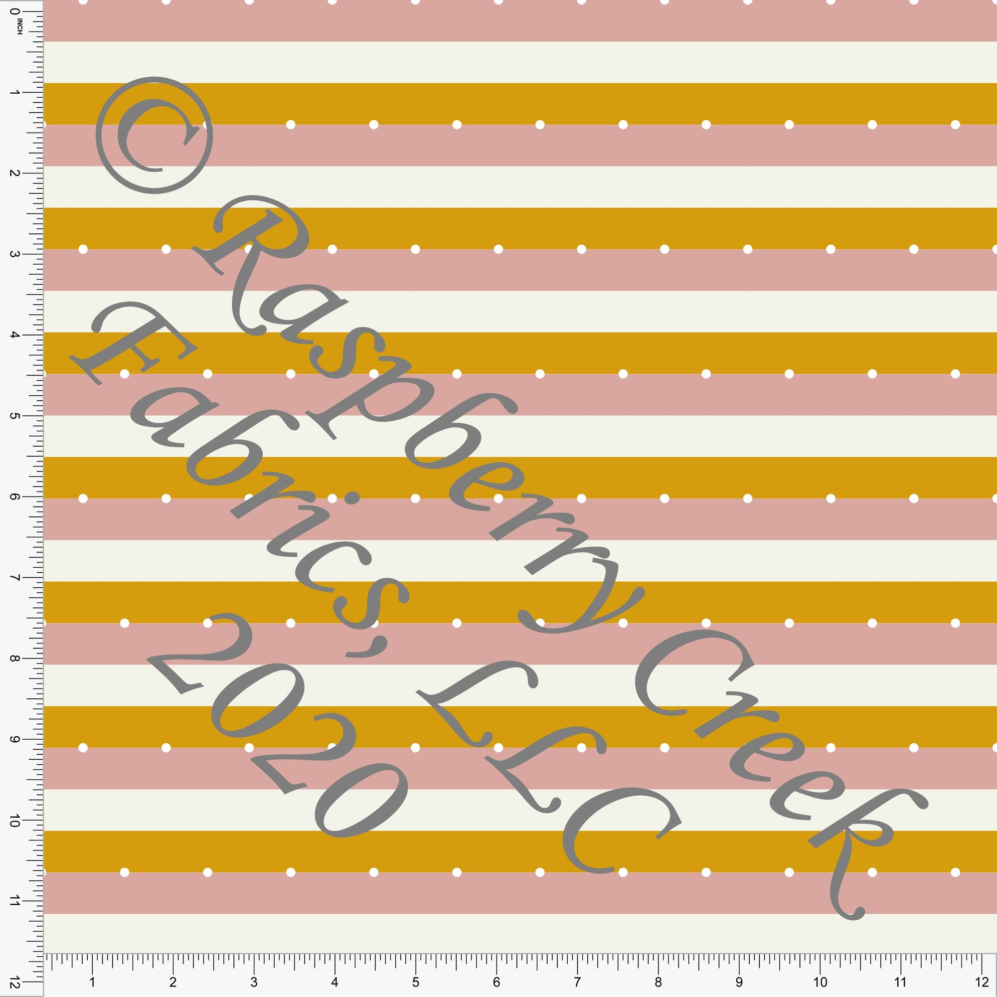 Dusty Pink Mustard and White Dot Stripe Print Double Brushed Poly Knit Fabric, Abundant by Kimberly Henrie for CLUB Fabrics - Raspberry Creek Fabrics Knit Fabric