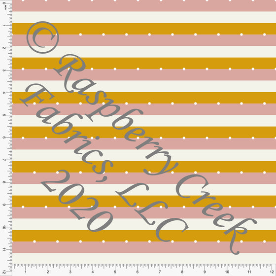 Dusty Pink Mustard and White Dot Stripe Print Double Brushed Poly Knit Fabric, Abundant by Kimberly Henrie for CLUB Fabrics - Raspberry Creek Fabrics