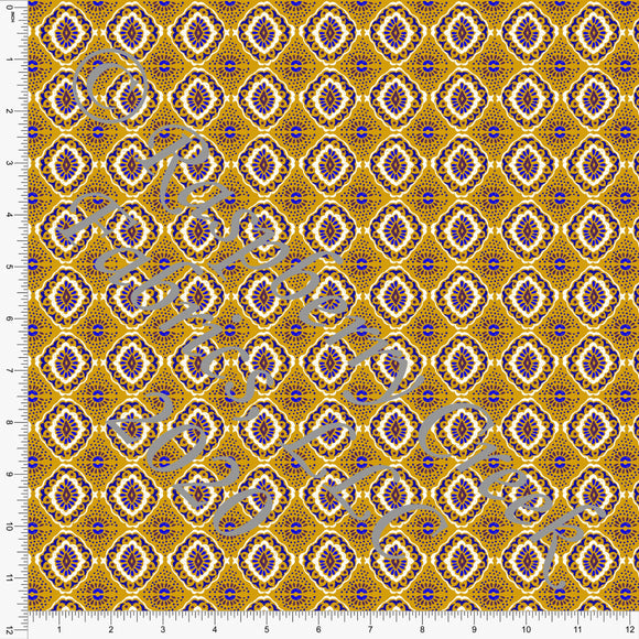 Mustard Teal and Burgundy Geometric Ikat Print Stretch Crepe, CLUB Fabrics - Raspberry Creek Fabrics