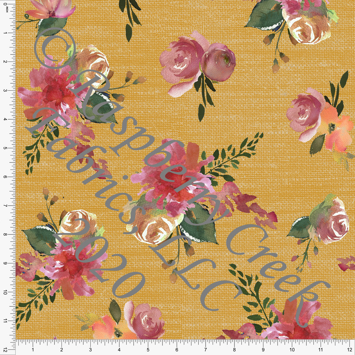 Mustard Mauve Olive and Burgundy Linen Look Floral Print Double Brushed Poly Knit Fabric, CLUB Fabrics - Raspberry Creek Fabrics