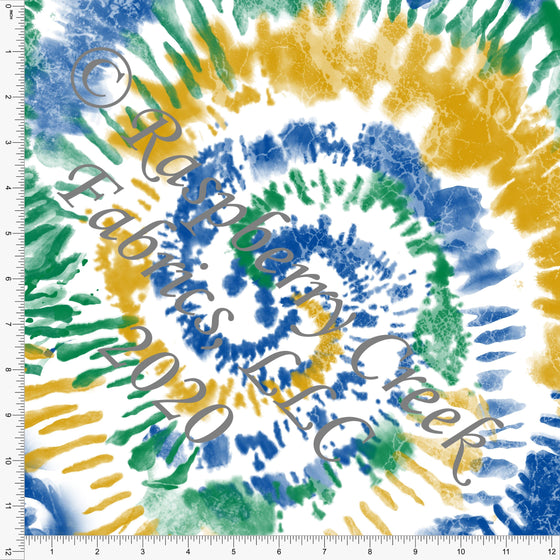 Mustard Kelly Green and Royal Blue Tie Dye Swirl, Club Fabrics - Raspberry Creek Fabrics