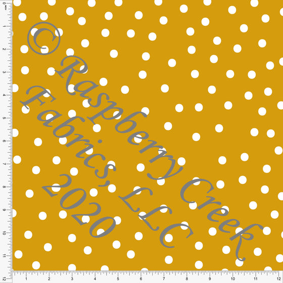 Mustard and White Random Polk Dot Print Double Brushed Poly Knit Fabric, Abundant by Kimberly Henrie for CLUB Fabrics - Raspberry Creek Fabrics