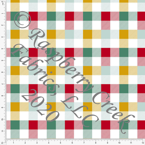 Mustard Dusty Green and Red Plaid Print, Christmas Floralsaurus by Kimberly Henrie for Club Fabrics - Raspberry Creek Fabrics