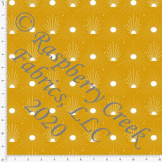 Mustard and White Sun Dot Print Double Brushed Poly Knit Fabric, Abundant by Kimberly Henrie for CLUB Fabrics - Raspberry Creek Fabrics