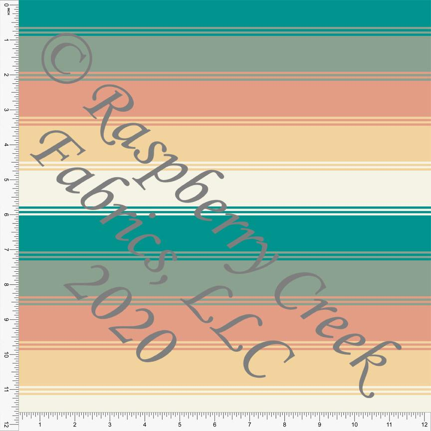 Teal Sage Deep Peach Yellow and Cream Multi Stripe Print, Muted Geometrics by Kelsey Shaw For Club Fabrics - Raspberry Creek Fabrics Knit Fabric