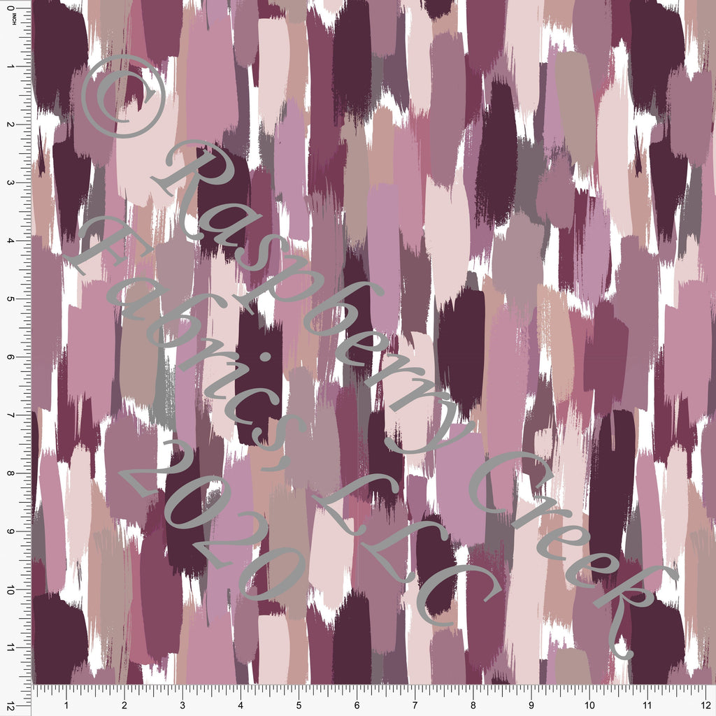 Muted Plum Mauve Grey and Cream Vertical Painted Stripe Rayon Challis, CLUB Fabrics - Raspberry Creek Fabrics