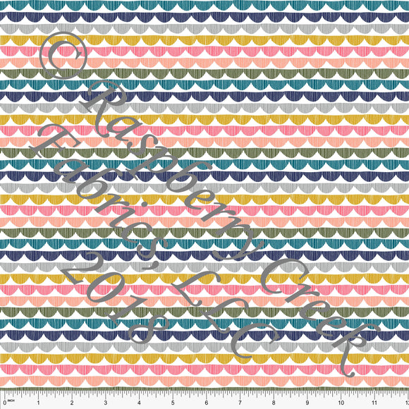 Navy Olive Grey Salmon Teal and Mustard Sketched Scallop Stripe 4 Way Stretch Jersey Knit Fabric, Outdoors by Ella Randall for Club Fabrics