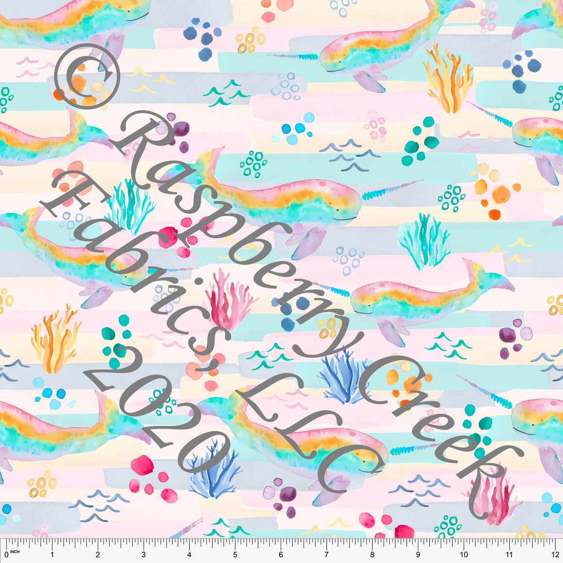 Pink Lilac Blue Teal and Yellow Narwhal Print 4 Way Stretch MATTE SWIM Knit Fabric, By Kelsey Shaw for Club Fabrics - Raspberry Creek Fabrics