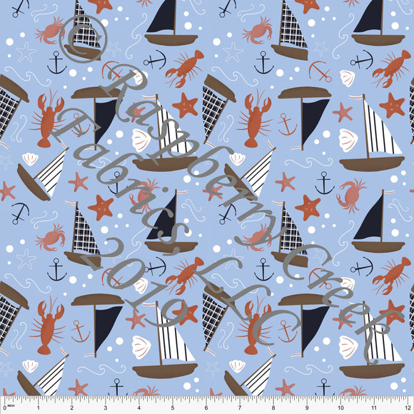 Light Periwinkle Blue Navy Rust Coral and Brown Nautical Sailboat 4 Way Stretch Jersey Knit Fabric, By Stephani MacLeod for Club Fabrics
