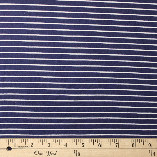 Navy and White Stripe Double Brushed Poly Spandex Knit, 1 yard