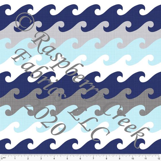 Light Blue Navy Grey and White Textured Wave Stripe Print By Brittney Laidlaw for Club Fabrics - Raspberry Creek Fabrics