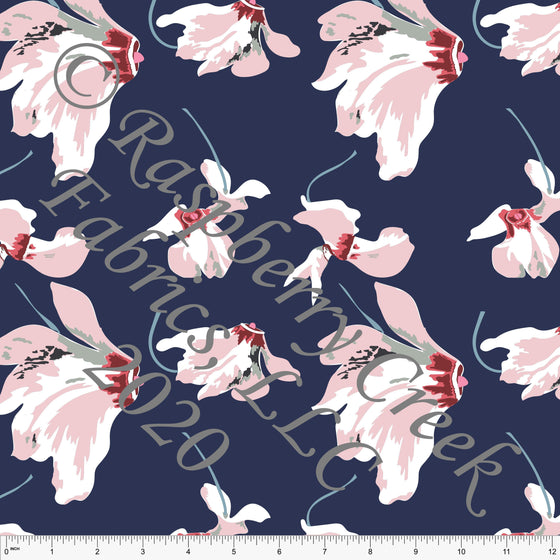 Navy Blue Dusty Pink and Off White Floral Print Stretch Crepe, CLUB Fabrics - Raspberry Creek Fabrics