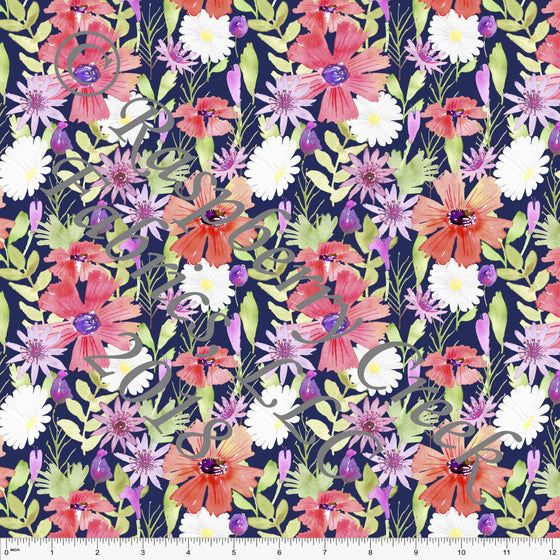 Navy Coral Pink Green and Purple Floral 4 Way Stretch MATTE SWIM Knit Fabric, By Ella Randall For Club Fabrics