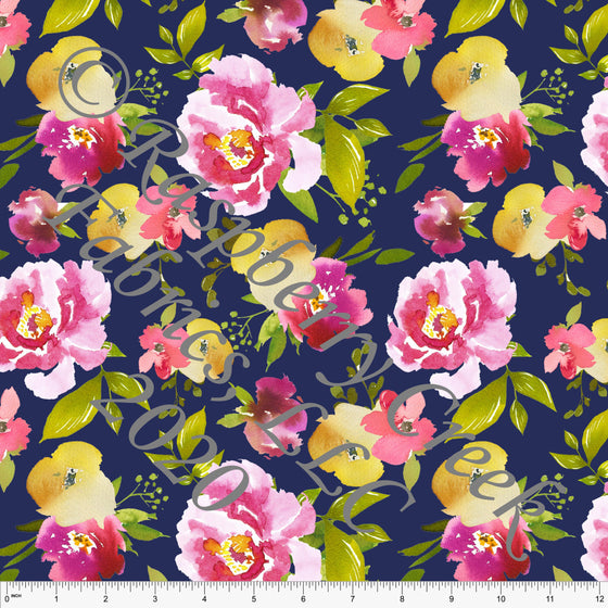 Navy Blue Lipstick Pink Green and Yellow Watercolor Floral Print 4 Way Stretch MATTE SWIM Knit Fabric, Club Fabrics - Raspberry Creek Fabrics