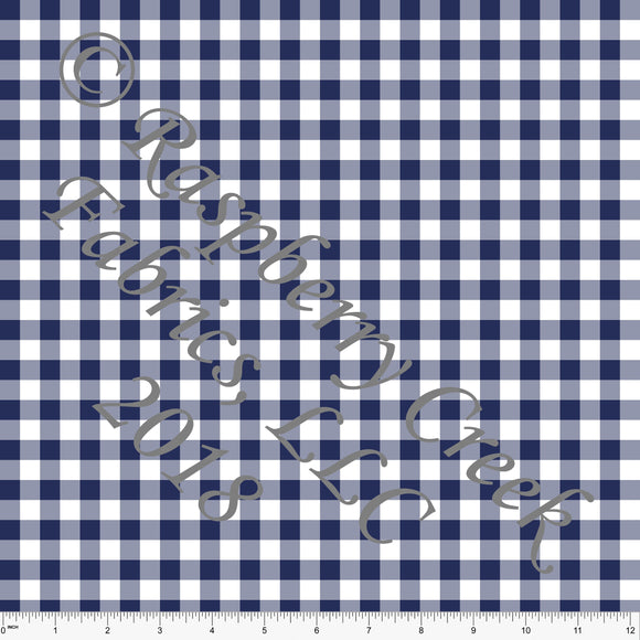 Navy and White Check Gingham Sueded Microfiber Woven Board Short Fabric, CLUB Fabrics - Raspberry Creek Fabrics