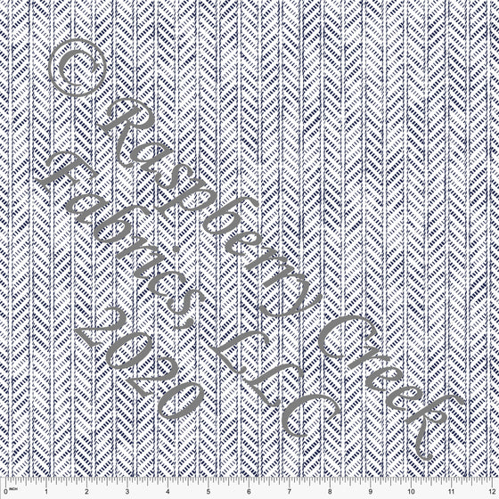 Navy Blue and White Abstract Herringbone Ponte De Roma Knit Fabric, CLUB Fabrics, 1 yard - Raspberry Creek Fabrics