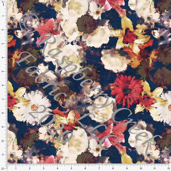Navy Red Off White and Mustard Abstract Painted Floral Print Stretch Crepe, CLUB Fabrics - Raspberry Creek Fabrics