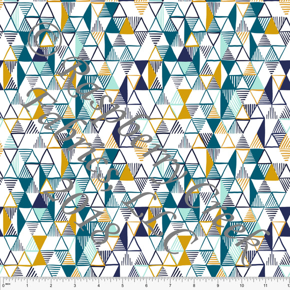 Navy Teal Mint and Mustard Geometric Triangle 4 Way Stretch Jersey Knit Fabric, Outdoors by Ella Randall for Club Fabrics