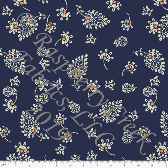 Navy Blue Cream and Orange Paisley Floral Stretch Crepe, CLUB Fabrics, 1 Yard - Raspberry Creek Fabrics