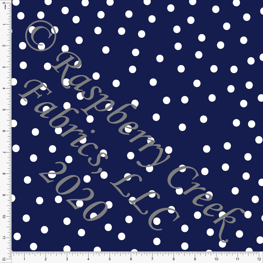 Navy and White Random Polk Dot Print Double Brushed Poly Knit Fabric, Abundant by Kimberly Henrie for CLUB Fabrics - Raspberry Creek Fabrics