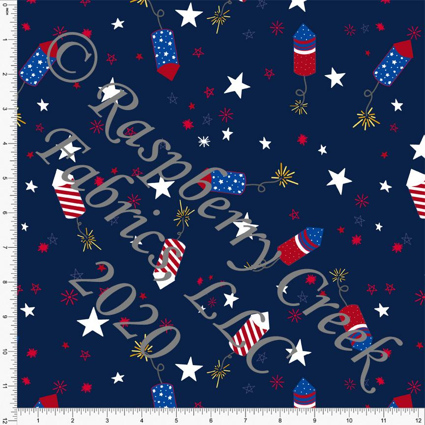 Navy Blue Royal Blue and Red Star Fireworks, By Brielle Carlson for CLUB Fabrics - Raspberry Creek Fabrics Knit Fabric