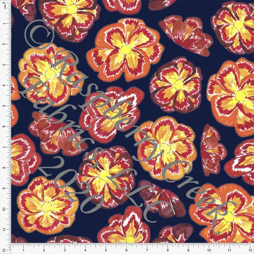 Navy Red Orange and Yellow Bright Floral Print, By Elise Peterson for Club Fabrics - Raspberry Creek Fabrics Knit Fabric