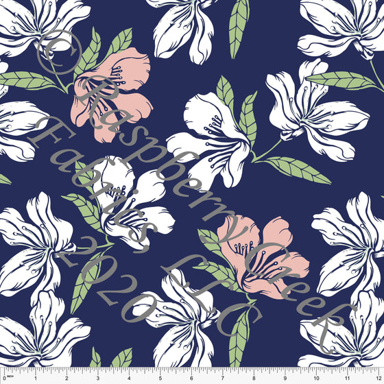 Navy Sage Blossom and White Floral Print for Club Fabrics - Raspberry Creek Fabrics