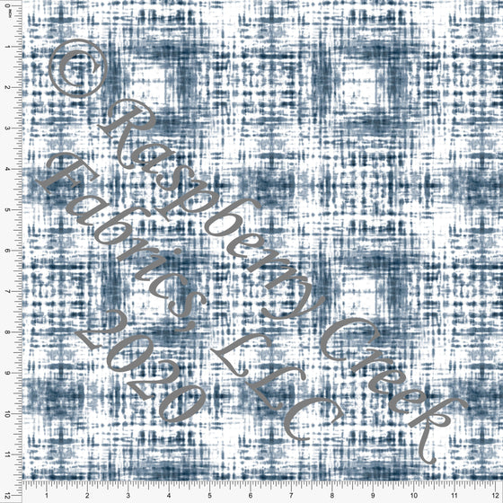 Tonal Navy Blue Shibori Crosshatch Print Double Brushed Poly Knit Fabric, CLUB Fabrics - Raspberry Creek Fabrics
