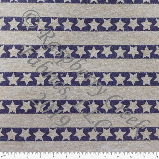 Navy Blue Star Stripe on Heathered Grey 4 Way Stretch Jersey Knit Fabric, By McKenzie Powell for Club Fabrics - Raspberry Creek Fabrics