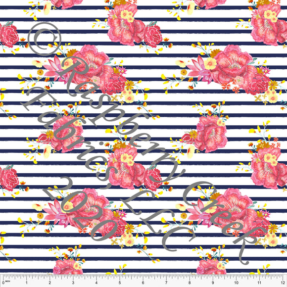 Salmon Coral Yellow and Navy Blue Stripe Floral, Summer Floral by Elise Peterson for Club Fabrics - Raspberry Creek Fabrics