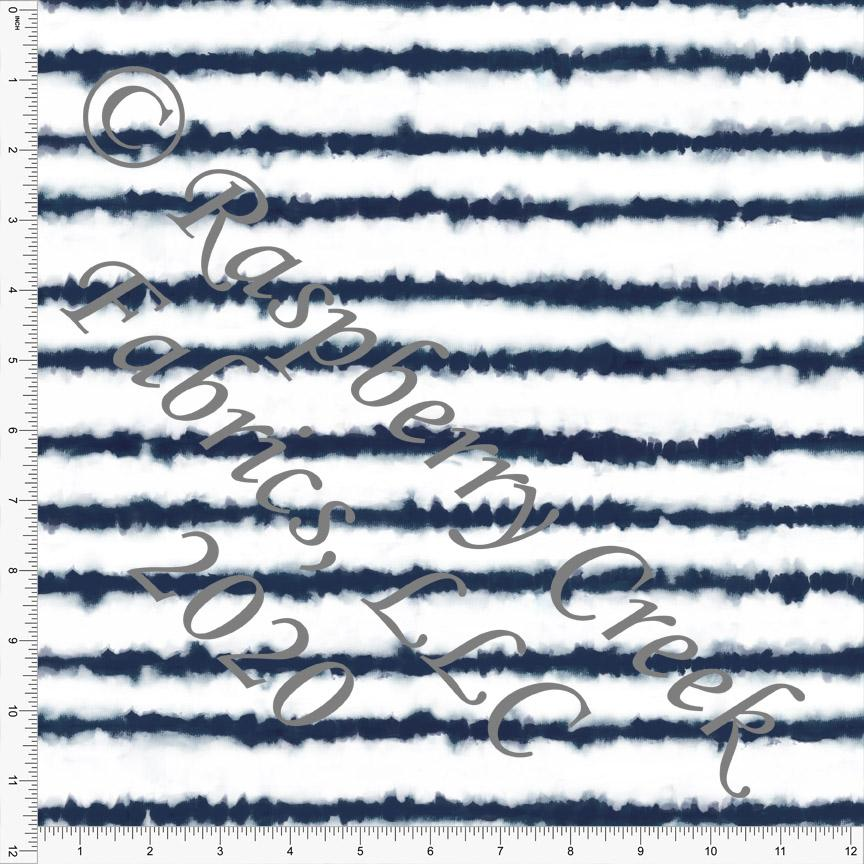 Navy Blue and White Tie Dye Stripe Print, Club Fabrics - Raspberry Creek Fabrics
