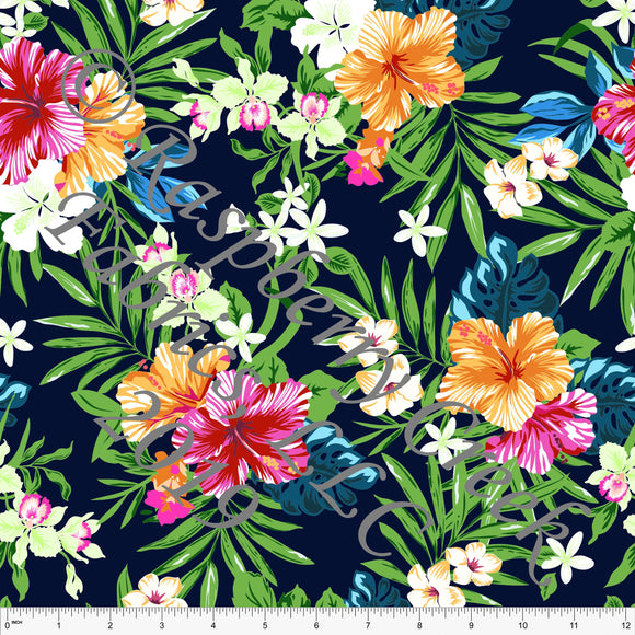 Navy Blue Fuchsia Orange Teal and Green Tropical Floral Stretch Crepe, CLUB Fabrics, 1 Yard - Raspberry Creek Fabrics