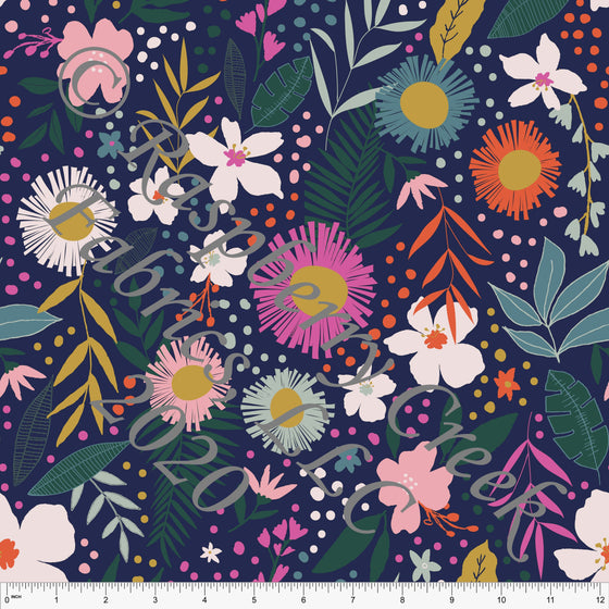 Navy Orange Dusty Pink Mustard and Green Tropical Floral Print Double Brushed Poly Knit Fabric, By Kimberly Henrie for CLUB Fabrics - Raspberry Creek Fabrics