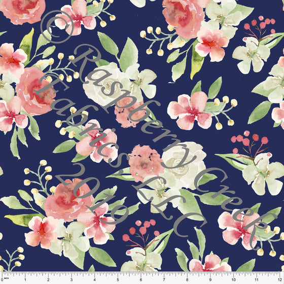 Navy White Coral and Green Watercolor Floral 4 Way Stretch MATTE SWIM Knit Fabric, Club Fabrics