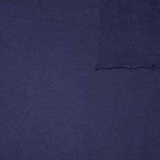 Solid New Navy Blue 4 Way Stretch French Terry Knit Fabric With Spandex, 1 Yard