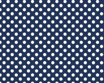 Navy and White Small Polka Dot Cotton For Riley Blake, 1 Yard