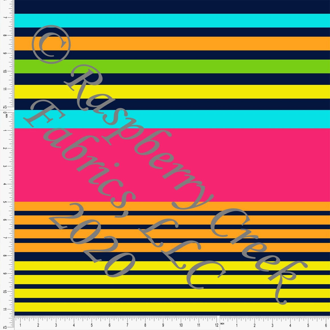 Fuchsia Orange Green Yellow and Navy Multi Stripe Print, Neon Fun by Brittney Laidlaw for Club Fabrics - Raspberry Creek Fabrics