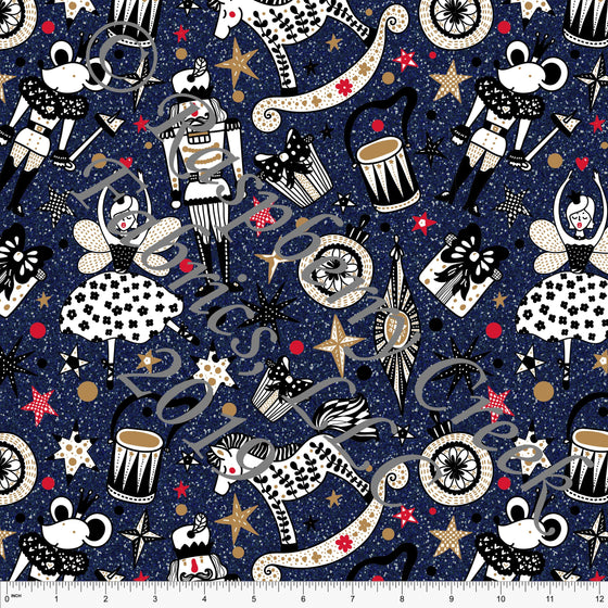 Navy Blue Black Red and Gold Sparkle Look Nutcracker Ballerina 4 Way Stretch Double Brushed Poly, CLUB Fabrics - Raspberry Creek Fabrics