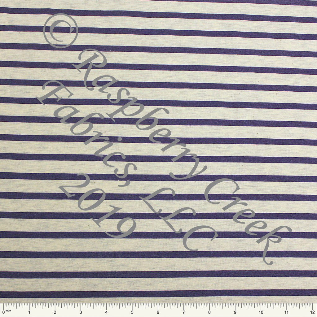 Navy Stripes on Oatmeal 4 Way Stretch French Terry Knit Fabric PRE-ORDER