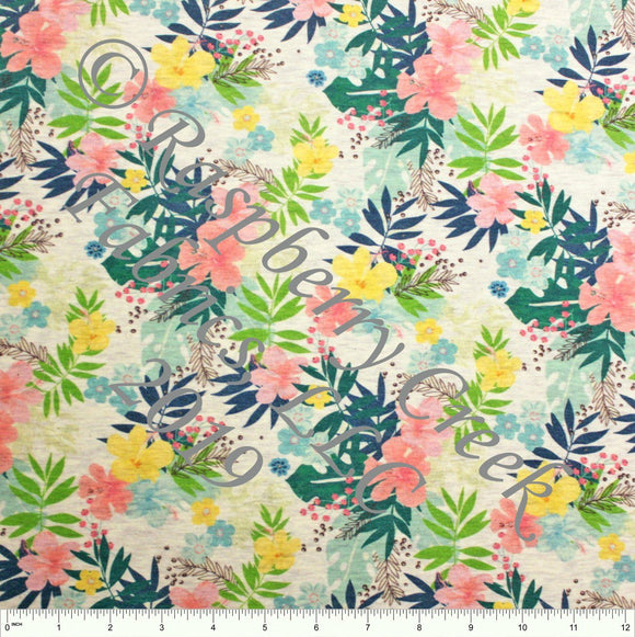 Salmon Teal Yellow Blue and Green Tropical Floral on Oatmeal 4 Way Stretch French Terry Knit Fabric PRE-ORDER