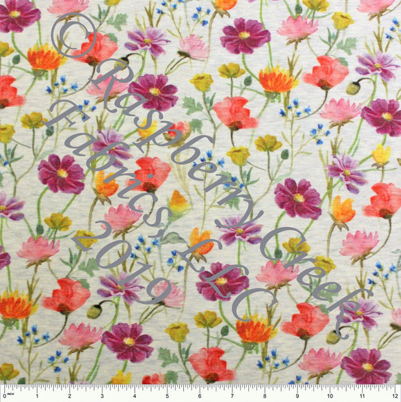 Purple Pink Orange Yellow and Green Wildflowers on Oatmeal 4 Way Stretch French Terry Knit Fabric - Raspberry Creek Fabrics