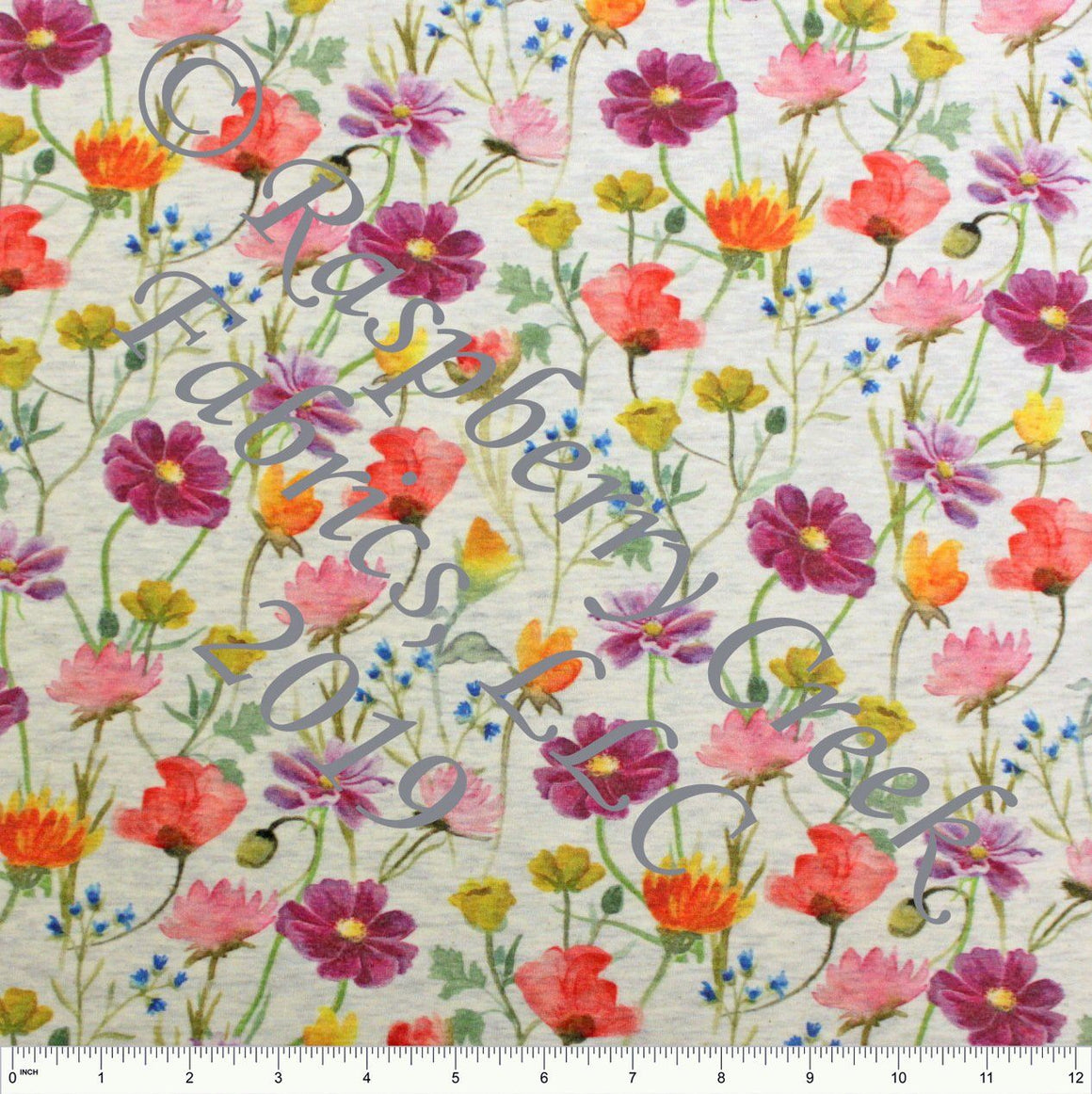 Purple Pink Orange Yellow and Green Wildflowers on Oatmeal 4 Way Stretch French Terry Knit Fabric PRE-ORDER FEB 2020 - Raspberry Creek Fabrics